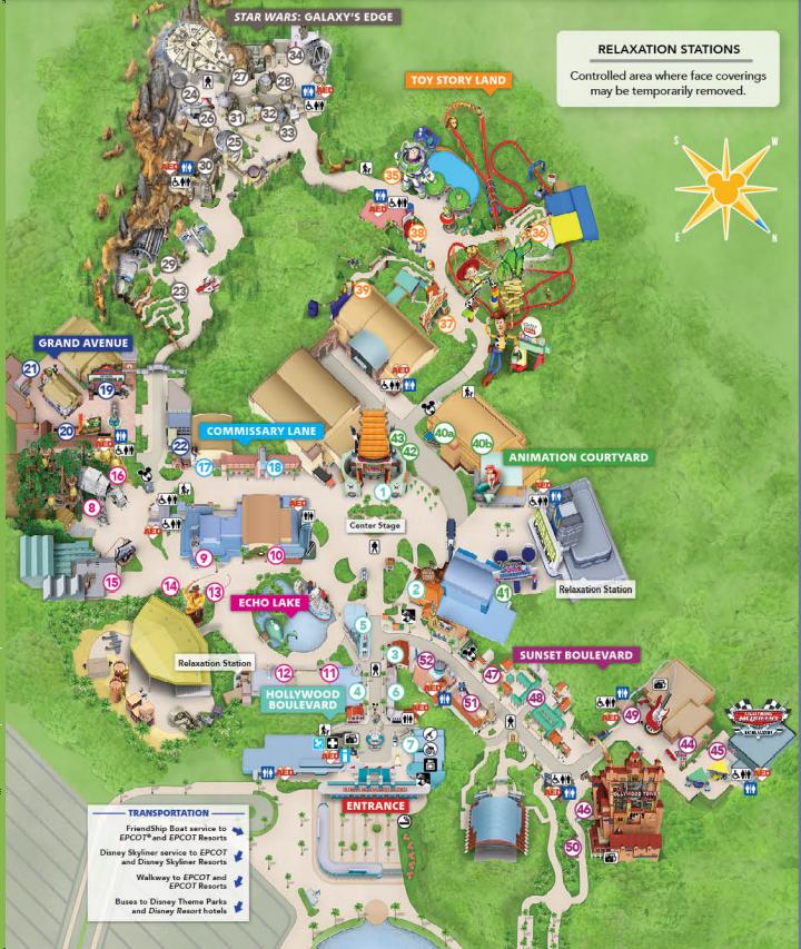 Mapa do parque Hollywood Studios da Disney
