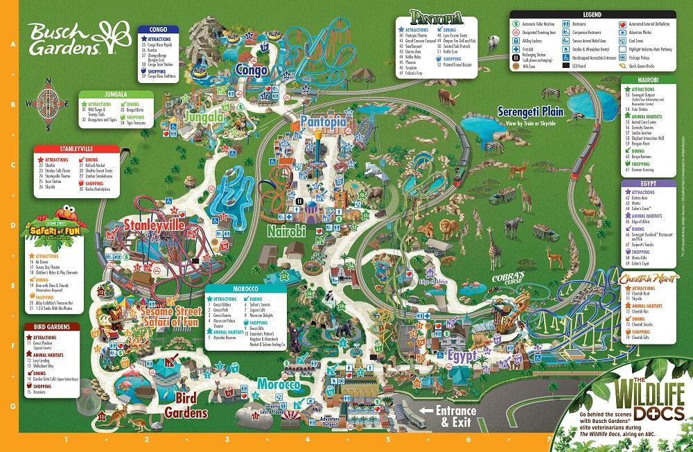 Mapa do parque Busch Gardens em Tampa