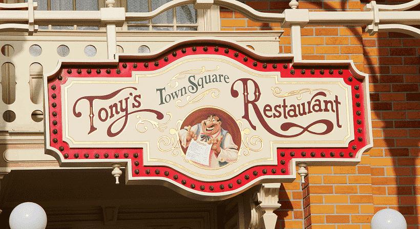 Restaurante Tony's Town Square com a Dama e o Vagabundo