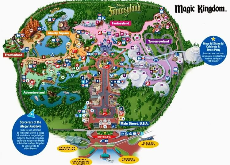 Mapa do parque Magic Kingdom
