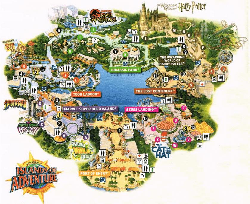 Mapa Parque Islands of Adventure em Orlando