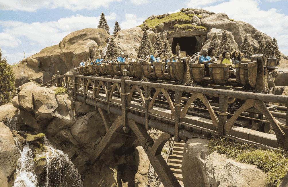 Trilhos da montanha-russa dos sete anões no Magic Kingdom