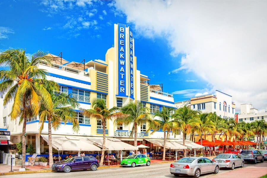 Hotel na Ocean Drive em Miami