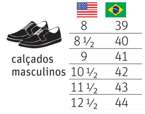 Tabela de conversão da numeração de sapatos masculinos dos EUA