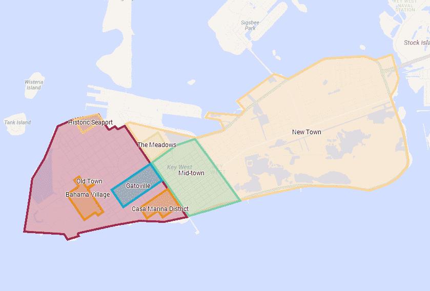 Mapa das regiões de Key West em Miami