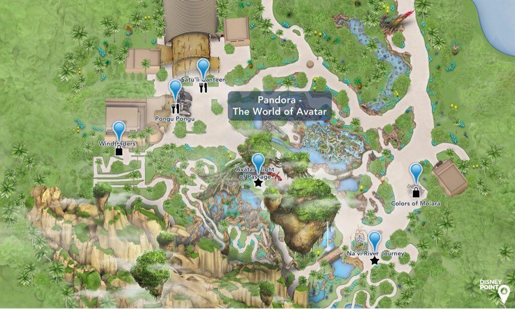 O mundo Avatar em Orlando na Disney: Mapa