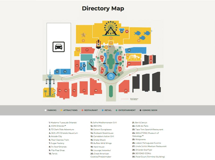 Mapa do complexo ICON Orlando 360 em Orlando