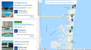 Mapa de Hospedagem em Cocoa Beach