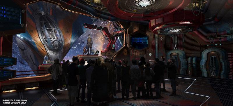 Previsão da sala de espera par a montanha-russa de Guardiões da Galáxia no Epcot