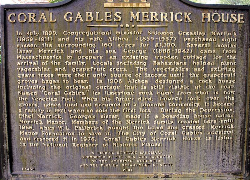 Placa com história da Merrick House em Coral Gables em Miami