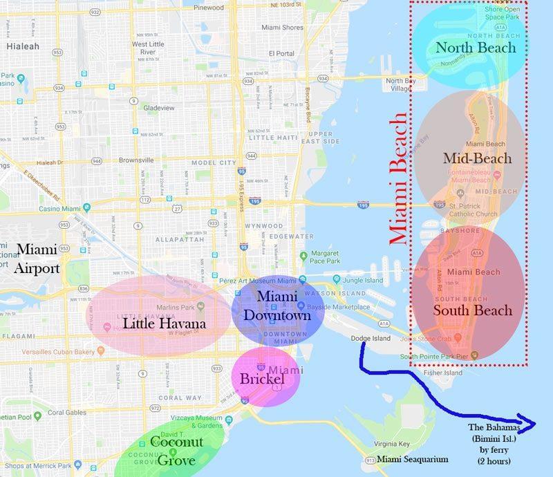 Mapa das regiões de Miami