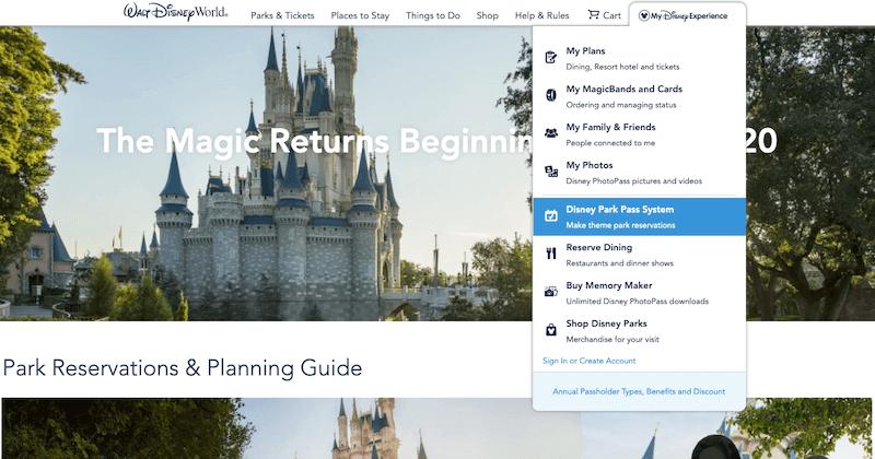 Passo 1 de como fazer a reserva para visitar os parques da Disney Orlando