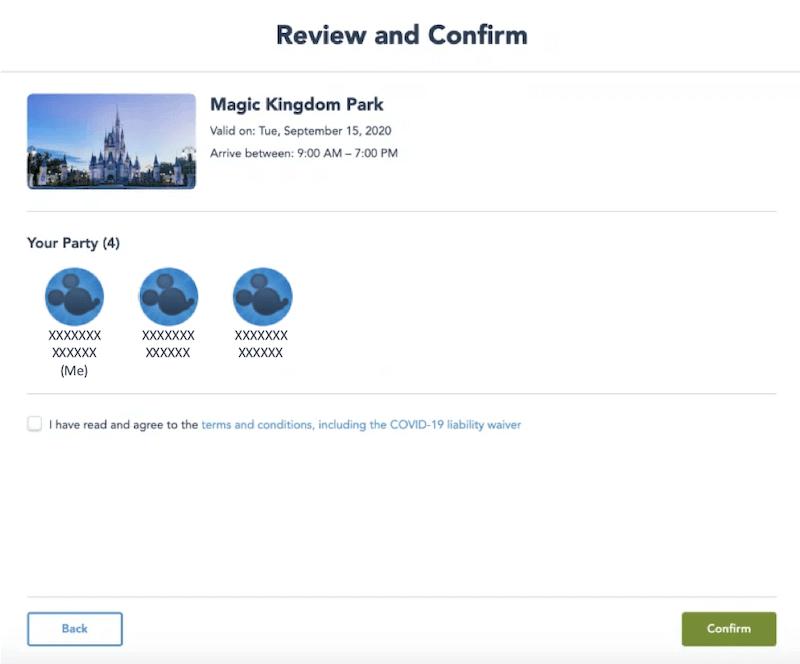 Passo 4 de como fazer a reserva para visitar os parques da Disney Orlando