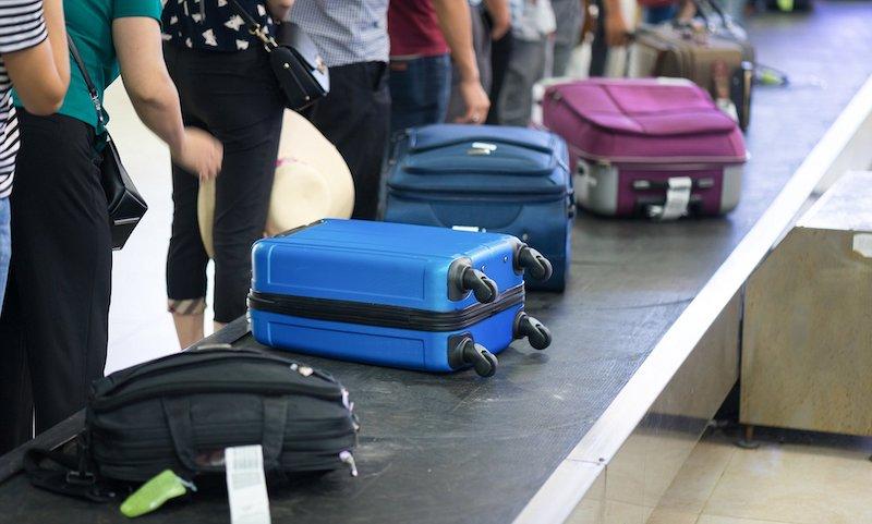 Esteira de malas de viagem
