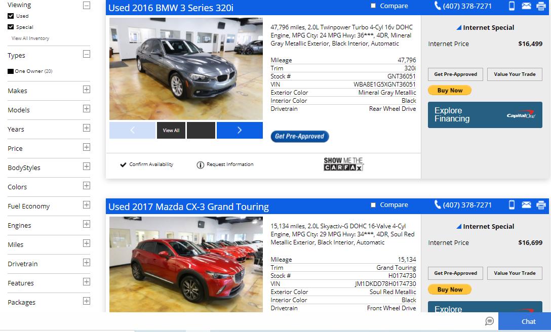 Carros da RPT Sales