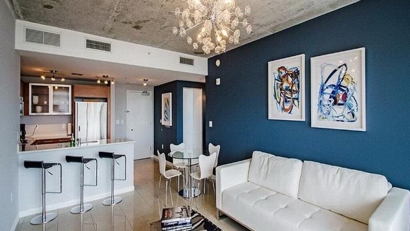 Sala de apartamento alugado em Miami