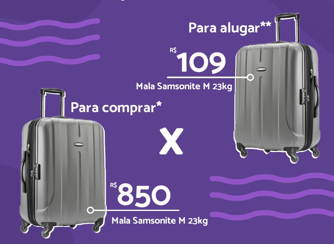 Comparação de preços entre comprar e alugar mala